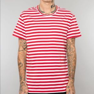 New Elwood Red and White Striped Classic Tee